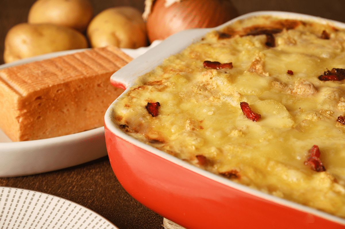 «Belgiflette» (une tartiflette bien de chez nous, au fromage et à la bière)